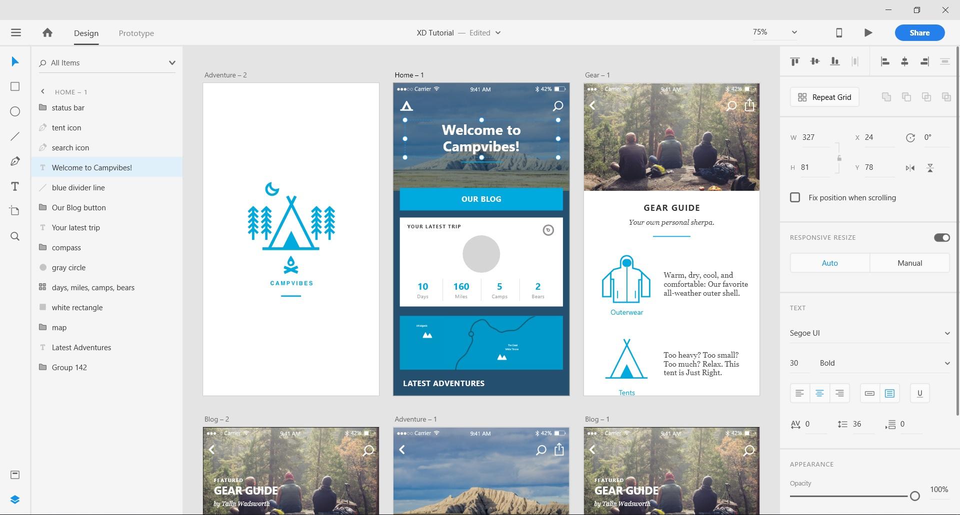 Adobe user interface